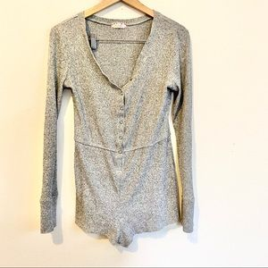 Altar'd State Gray Ribbed Thermal Lounge Romper